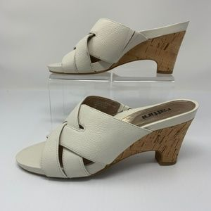 Umberto Raffini Pebble Leather Cork Heels Sandals